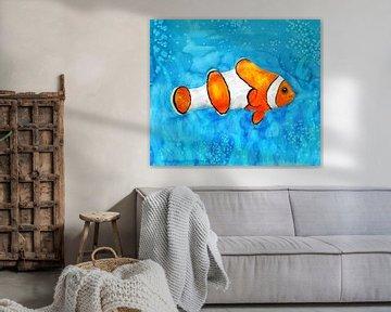 Eine Aquarellzeichnung eines Anemonenfisches von Bianca Wisseloo