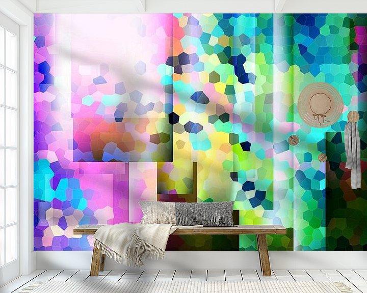 Beispiel fototapete: Modernes, abstraktes digitales Kunstwerk in verschiedenen Farben von Art By Dominic