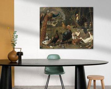 Pfau und Huhn auf einer Sitzstange, Truthähne, ein Fasan und Geflügel an einem Brunnen, Adriaen van