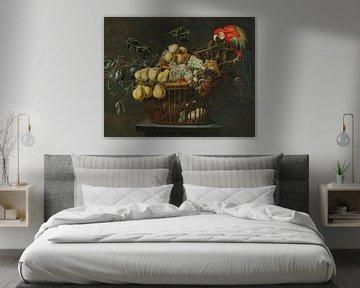 Stilleben eines Obstkorbs mit Papagei, Adriaen van Utrecht
