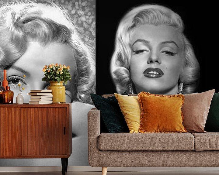 Sfeerimpressie behang: Collage Marilyn Monroe van Brian Morgan