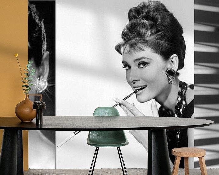 Beispiel fototapete: Audrey Hepburn Collage von Brian Morgan