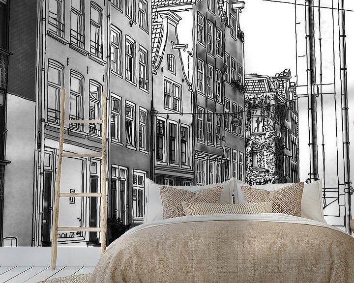 Sfeerimpressie behang: Pentekening Jordaan Noordermarkt Amsterdam Tekening Lijntekening van Hendrik-Jan Kornelis