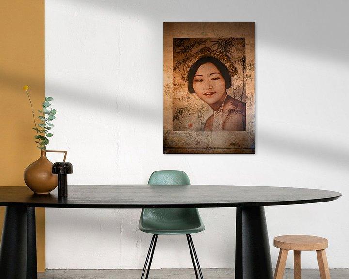 Sfeerimpressie: Muurschildering in het China House in Phnom Penh, Cambodja van Robert van Hall