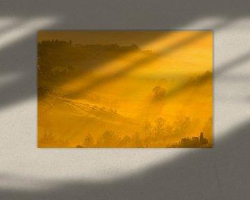 Zonsopkomst in de Toscaanse heuvels van Damien Franscoise