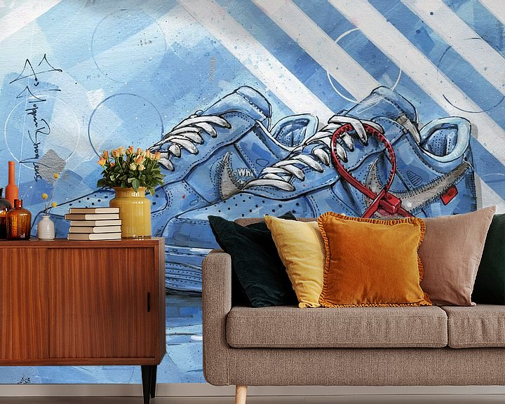 Sfeerimpressie behang: Nike Air Force 1 Low Off-White University Blue schilderij van Jos Hoppenbrouwers