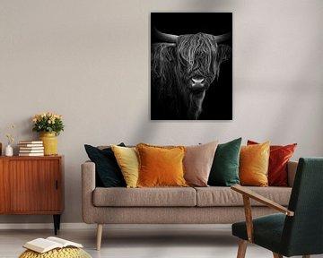 Schotse Hooglander digital art, in zwart-wit van Marjolein van Middelkoop