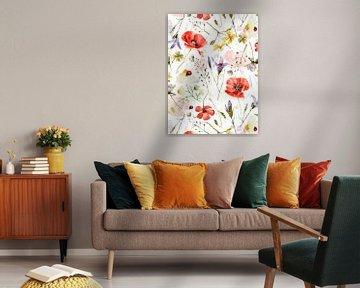 Klaproos en wilde bloemenweide van Uta Naumann