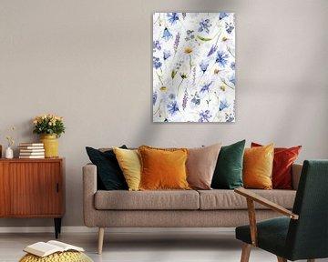 Blauwe weide met wilde bloemen van Uta Naumann