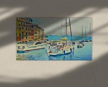 Boote in Portofino - Italien - Jetset - Italienische Riviera - Gemälde von Schildersatelier van der Ven