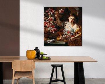 Eine junge Frau, die eine Blume aus einer Vase nimmt, Abraham Brueghel