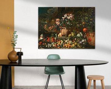 Blumenstillleben mit Früchten, Putten und Tieren, Abraham Brueghel