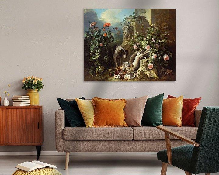 Beispiel: Hunde mit Blumen und totem Wild, Alexandre François Desportes