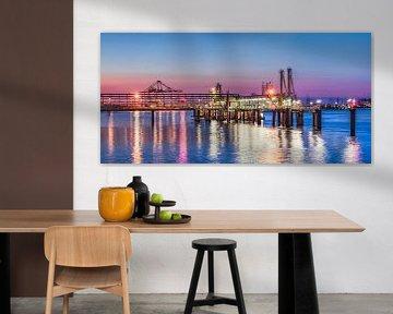 Verlichte pier bij een kleurrijke zonsondergang, Haven van Antwerpen 3 van Tony Vingerhoets