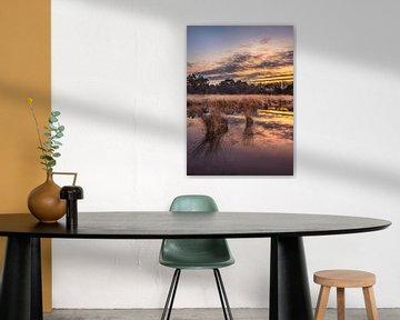 Sunrise met dramatische wolken weerspiegeld in een rustige wetland van Tony Vingerhoets