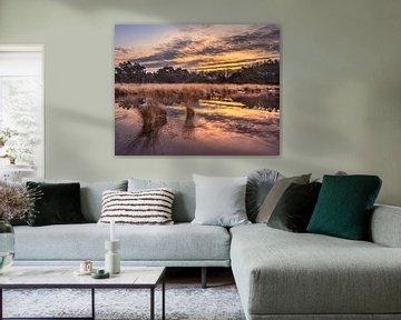 Zonsopgang met dramatische wolken weerspiegeld in een rustige wetland 2 van Tony Vingerhoets