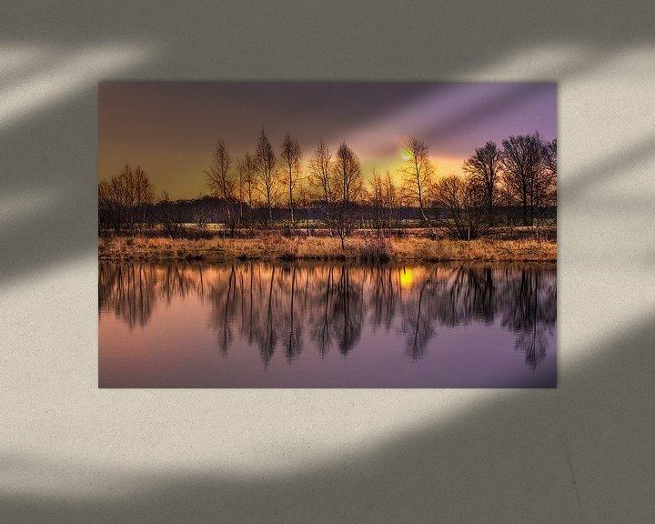 Sfeerimpressie: Dageraad met blauwe lucht en bosrand uiting in een lake_1 van Tony Vingerhoets
