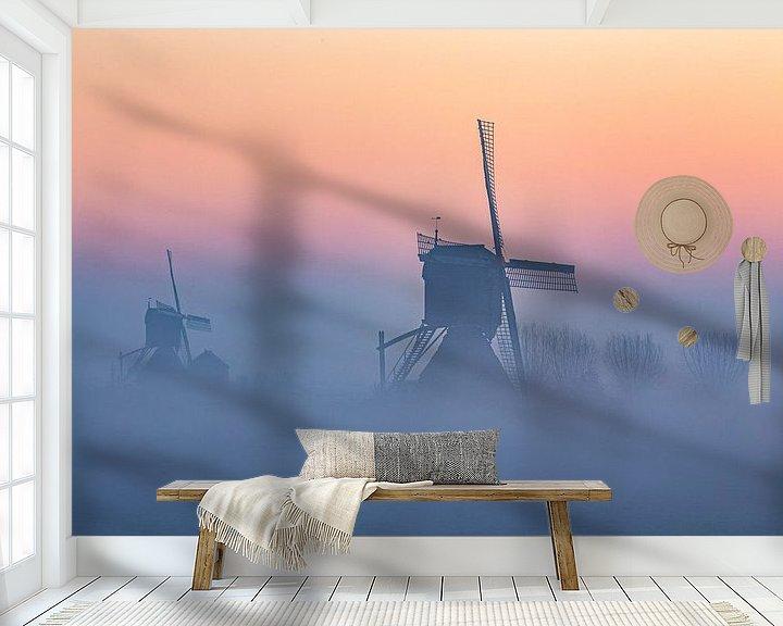 Beispiel fototapete: Windmühlen im Nebel von Paul Begijn