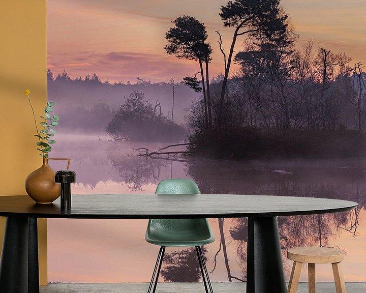 Sfeerimpressie behang: Oisterwijkse vennen tijdens het gouden uur van Paul Begijn