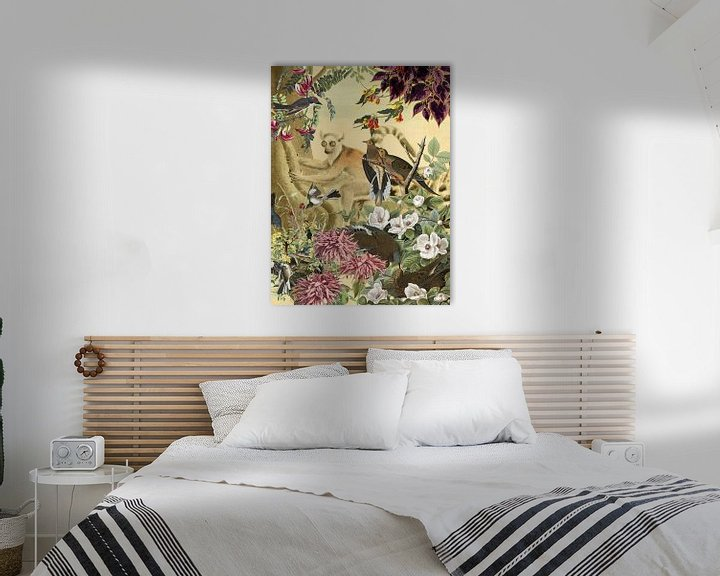 Beispiel: Ringelschwanz-Lemur hinter Vögeln und Blumen von Jadzia Klimkiewicz