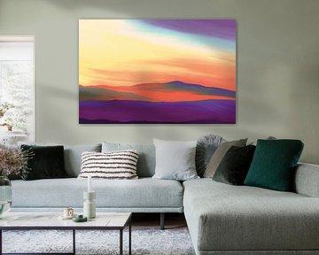 Vredig landschap bij zonsopkomst in surreale kleuren