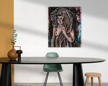 Frau mit drapiertem Stoff, Arno Nadel von Atelier Liesjes