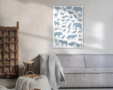 Collage aus Tier-, Vogel- und Insektensilhouetten von Jasper de Ruiter