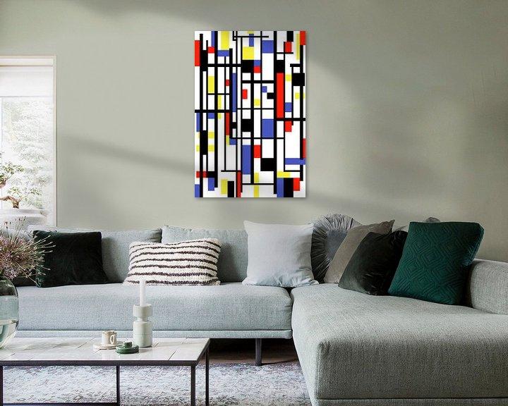 Sfeerimpressie: Mondriaan stijl gemaakt kunstwerk van Gert Hilbink