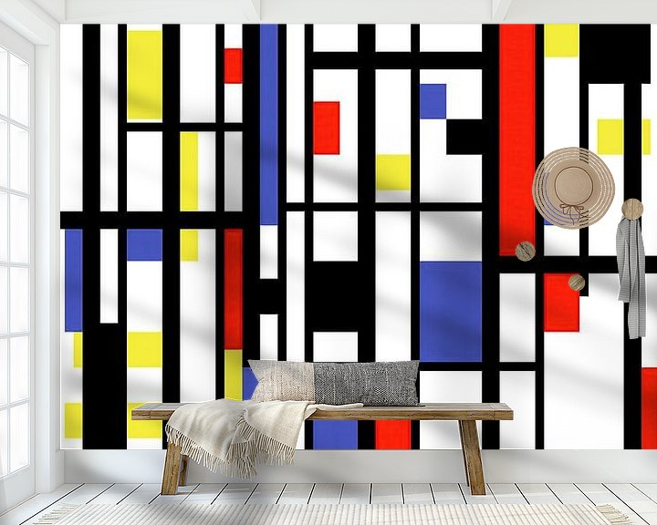 Sfeerimpressie behang: Mondriaan stijl gemaakt kunstwerk van Gert Hilbink
