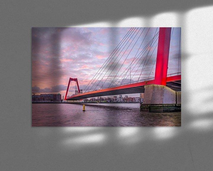 Sfeerimpressie: Willemsbrug bij zonsopkomst van Frans Blok