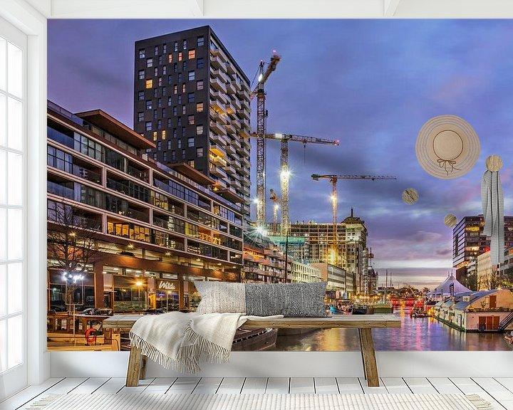 Sfeerimpressie behang: Rotterdam, Wijnhaven in het blauwe uur van Frans Blok