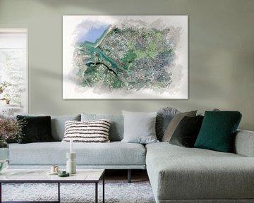 Karte von Rotterdam mit Hafen Aquarell von Aquarel Creative Design