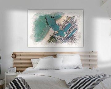 Karte des Hafens von Scheveningen im Aquarellstil von Aquarel Creative Design