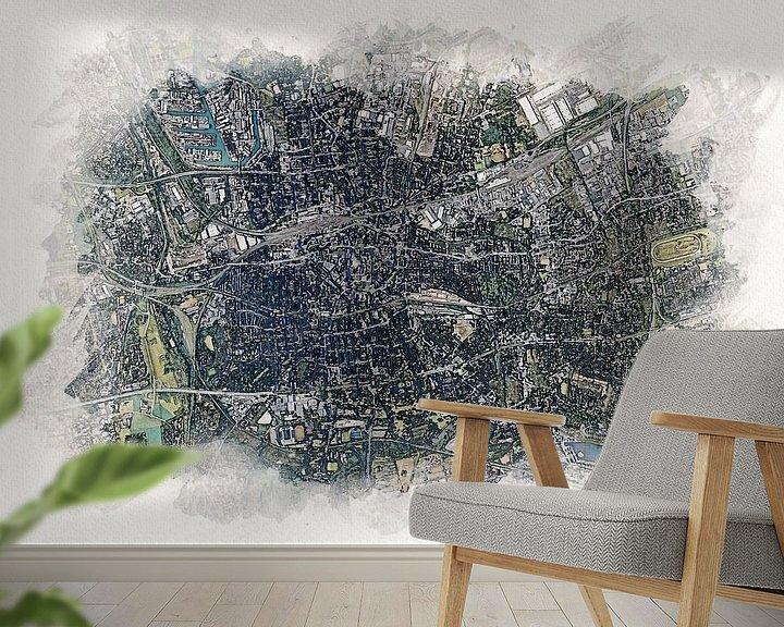 Beispiel fototapete: Karte von Dortmund von Aquarel Creative Design