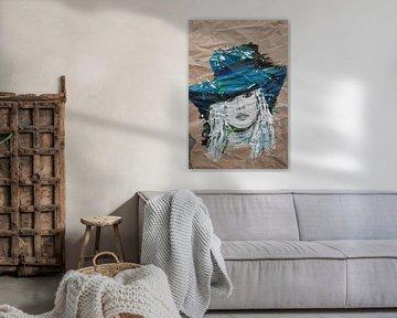 moderne Malerei Frau mit blauem Hut von jolanda verduin