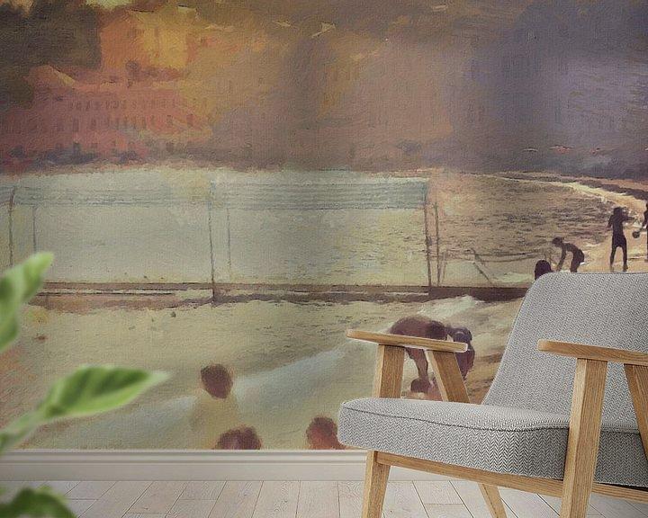 Sfeerimpressie behang: Italië - Gezelligheid aan het Strand - Italiaanse Rivièra - Schilderij van Schildersatelier van der Ven