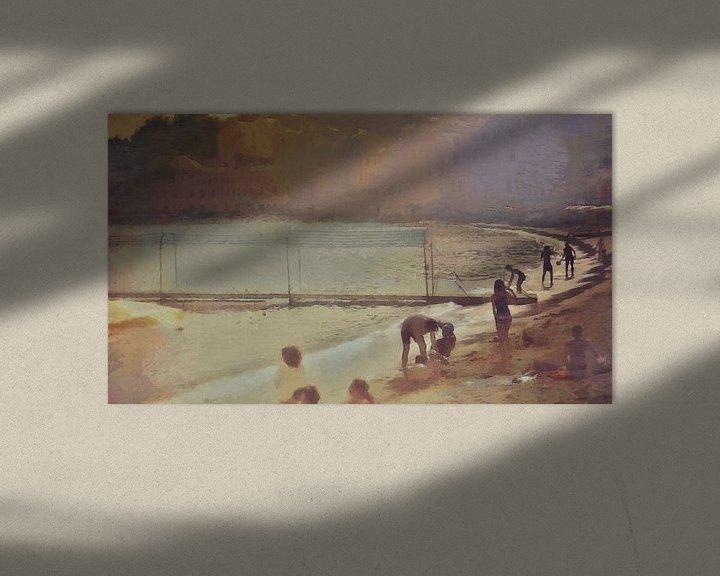 Sfeerimpressie: Italië - Gezelligheid aan het Strand - Italiaanse Rivièra - Schilderij van Schildersatelier van der Ven
