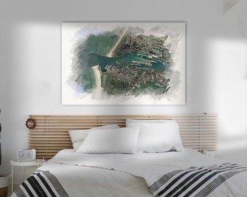 Karte von IJmuiden von Aquarel Creative Design