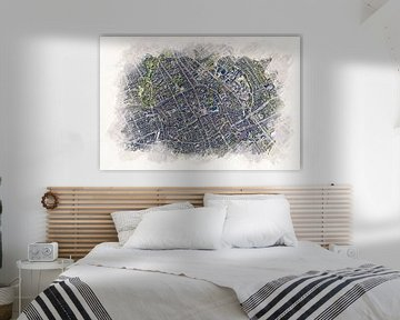 Karte von Groningen im Aquarell-Stil von Aquarel Creative Design