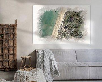Bloemendaal aan Zee aus der Luft von Aquarel Creative Design