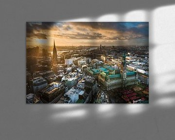 Zonsondergang in Hamburg van Michael Abid