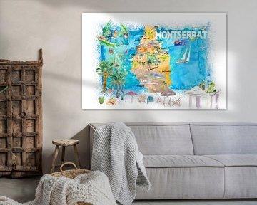 Montserrat Antillen Illustrierte Reisekarte mit Straßen und Highlights von Markus Bleichner