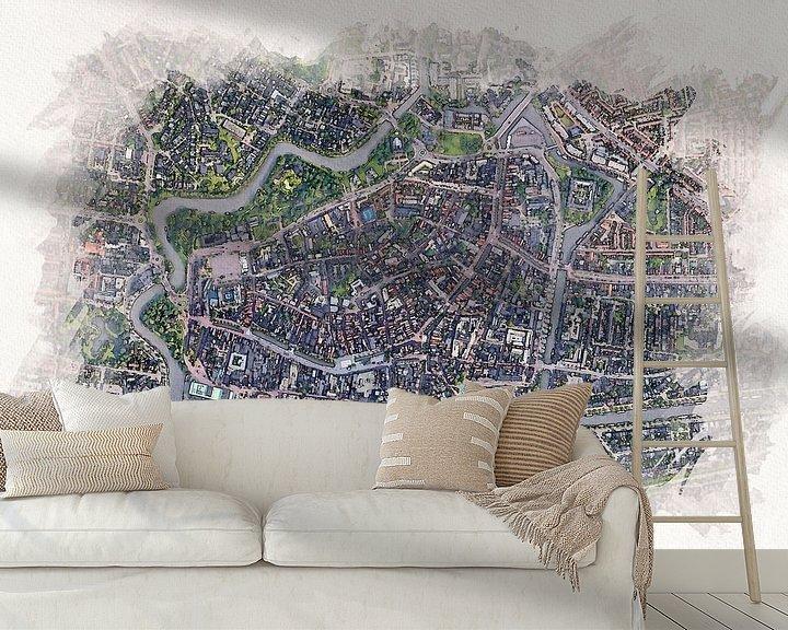 Beispiel fototapete: Leeuwarden aus der Luft von Aquarel Creative Design
