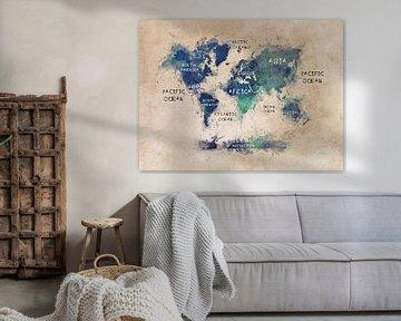 Weltkarte pastell blau grün #Karte #Weltkarte von JBJart Justyna Jaszke