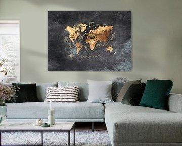 Weltkarte schwarzes Gold #Karte #Weltkarte von JBJart Justyna Jaszke