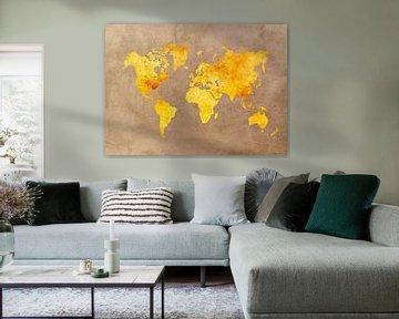 Weltkarte gelb orange #Karte #Weltkarte von JBJart Justyna Jaszke