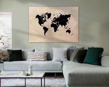 Weltkarte schwarz-beige #Karte #Weltkarte von JBJart Justyna Jaszke