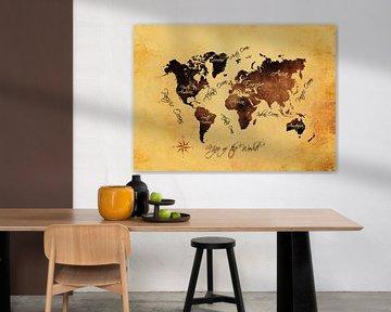 Weltkarte braun orange #Karte #Weltkarte von JBJart Justyna Jaszke