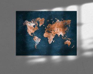 Weltkarte blau braun #Karte #Weltkarte von JBJart Justyna Jaszke