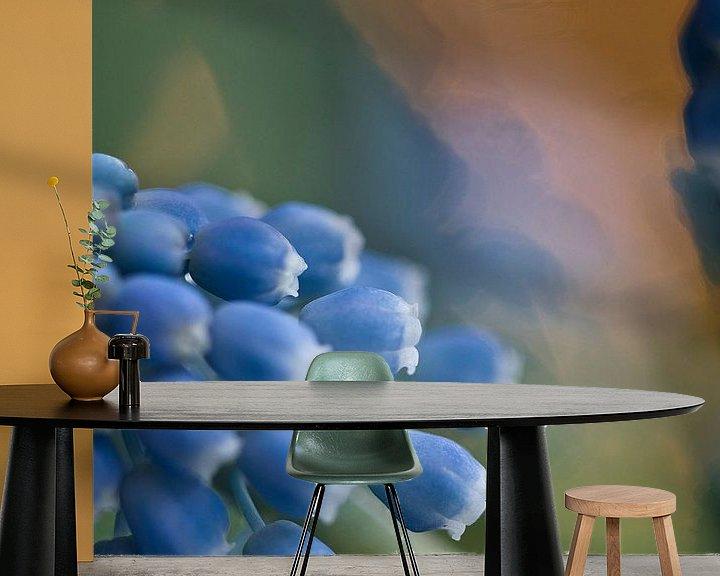 Sfeerimpressie behang: Muscari, blauwe druif met bokeh van Lindy Schenk-Smit